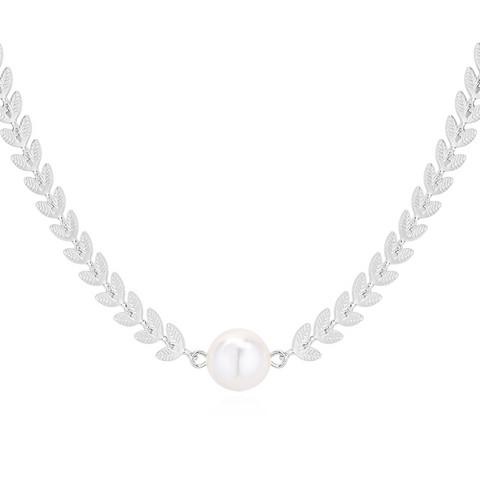 Kaulakoru, Classic Leaf and Pearl Necklace -helmikaulakoru