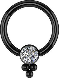 Lävistysrengas, Titanium Cluster with Swarovski® Crystals in Black