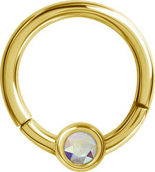 Lävistysrengas 1,2mm, Smiley Clicker 24K Gold PVD with Crystals AB