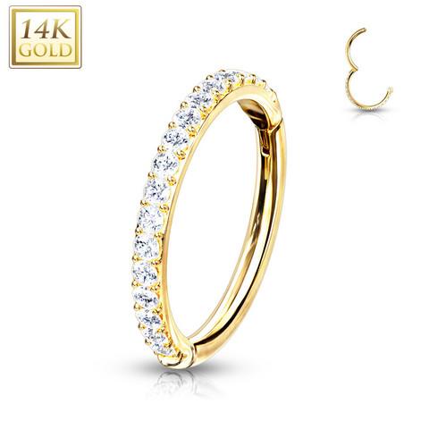 Lävistysrengas, 14K Gold CZ Paved Half Circle Hinged Ring -kultarengas