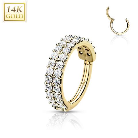 Lävistysrengas Ø10mm, 14K Gold Double Line CZ Hinged Ring -kultarengas