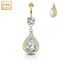 Napakoru, 14K Gold Three Tiered Teardrop Dangle CZ -kultainen napakoru
