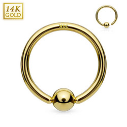 Lävistysrengas, 14K Gold Fixed Ball Bendable Hoop Ring -kultarengas
