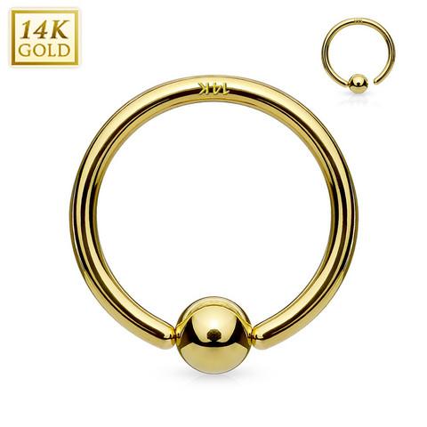 Lävistysrengas Ø8mm, 14K Gold Fixed Ball Bendable Ring -kultarengas