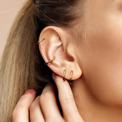Lävistysrengas Ø8mm, High Quality 14K Gold Hinged Rings -kultarengas
