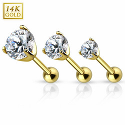 Barbell, 14K Gold Prong Set CZ Top -kultainen barbell-koru