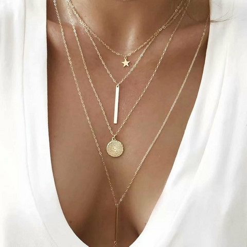 Kerroskaulakoru, FRENCH RIVIERA|Four Layer Necklace in Gold