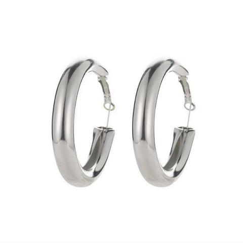 Korvakorut, FRENCH RIVIERA Wide Silver Hoops -hopeanväriset renkaat