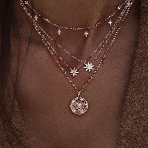 Kerroskaulakoru, FRENCH RIVIERA|Four Layer Sparkly Necklace in Gold