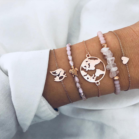 Rannekorusetti, FRENCH RIVIERA|Little Fox Bracelet Set in Pink