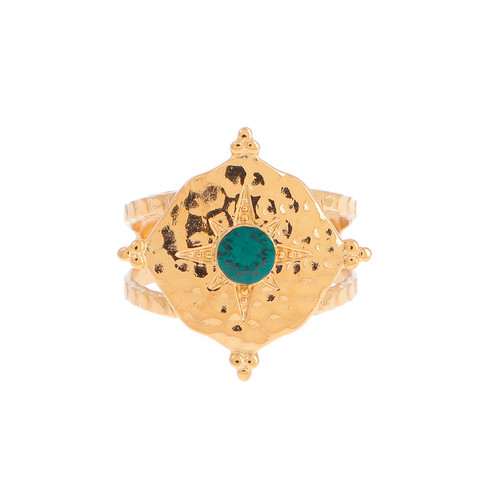 Sormus, BOHM PARIS Bague Loulita avec cristal Emerald