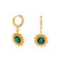 Korvakorut, BOHM PARIS|Boucles D'oreilles Soleil avec cristal vert