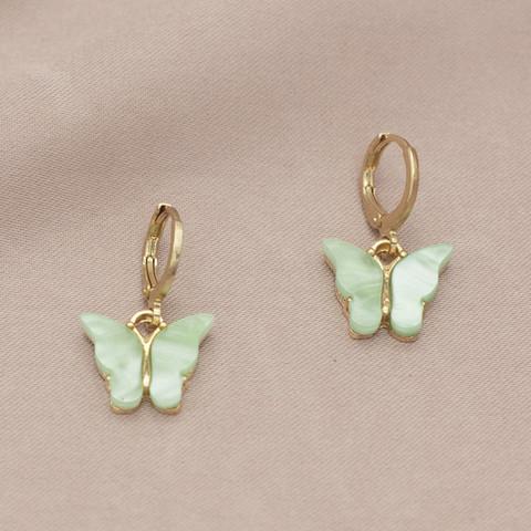 Korvakorut, PAPARAZZI|Butterfly Hoops in Mint -perhosrenkaat