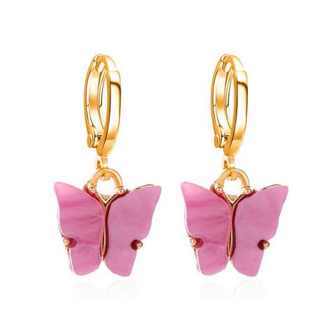 Korvakorut, PAPARAZZI|Butterfly Hoops in Rose Lilac -perhosrenkaat