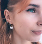 Korvakorut, PAPARAZZI|Butterfly Hoops in White -perhosrenkaat