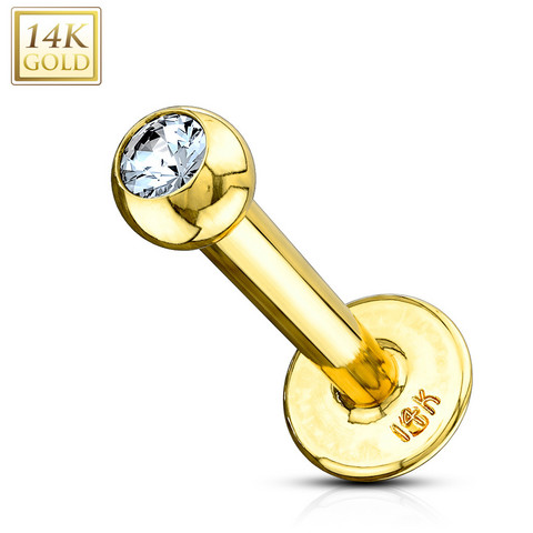 Labret, 14K Gold Labret with CZ  -kultainen labretkoru