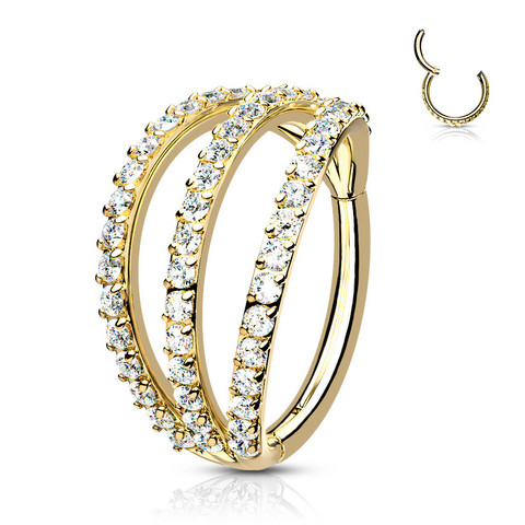 Lävistysrengas, High Quality Triple Layer Ring in Gold