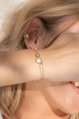 Rannekoru, BOHM PARIS|Bracelet Mathie avec agate blanche
