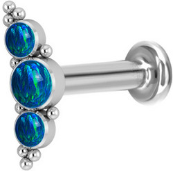Rustokoru/traguskoru, Medium Titanium Curved Labret with Blue Opal