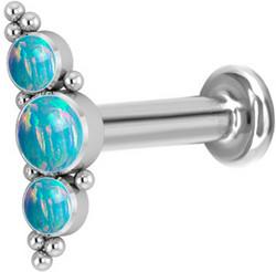 Rustokoru/traguskoru, Medium Titanium Curved Labret with Turqoise Opal