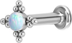 Rustokoru/traguskoru, Titanium Star Flower Labret with Opal