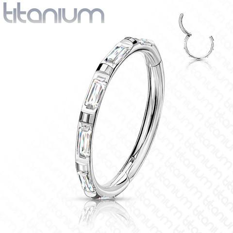Lävistysrengas, Titanium Ring Rectangular Baguette CZ