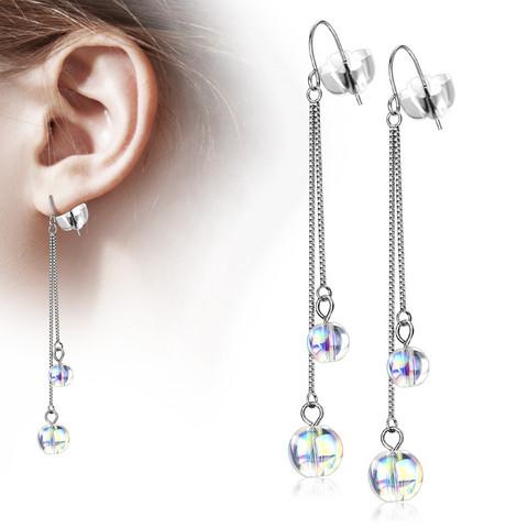 Kirurginteräksiset korvakorut, Double Chain and Iridescent Beads