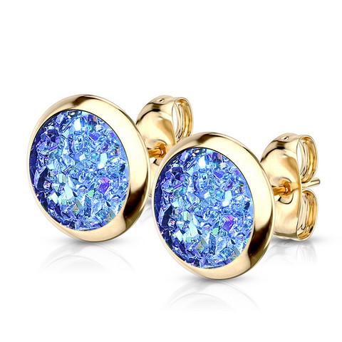 Kirurginteräsnapit, Small Gold Druzy Stone in Multicolor Blue