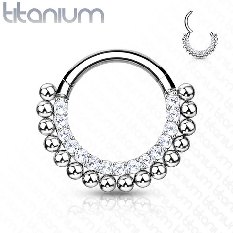 Lävistysrengas, Titanium Hoop Rings with Lined CZ and Balls