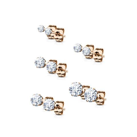 Kirurginteräksinen nappisetti, CZ Stainless Steel Earrings in Rosegold