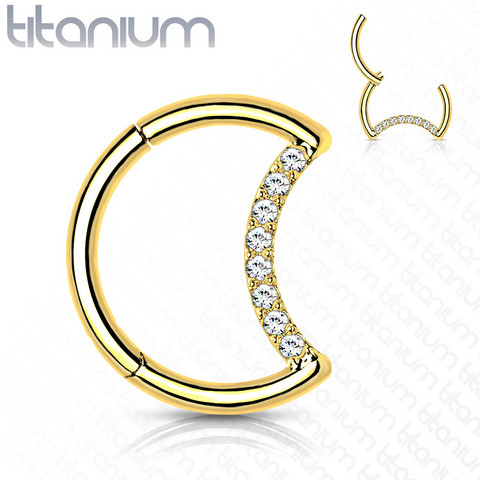 Lävistysrengas, Implant Grade Titanium Crescent Moon in Gold
