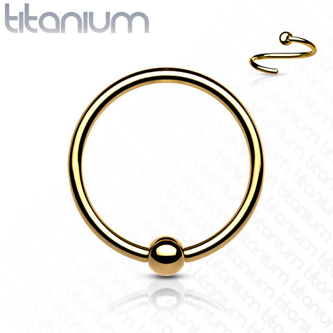 Lävistysrengas 0,8mm, Implant Grade Titanium Bendable Ring in Gold