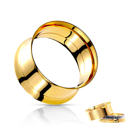 Tunneli 8mm, Double Flared Screw Fit Tunnel in Gold
