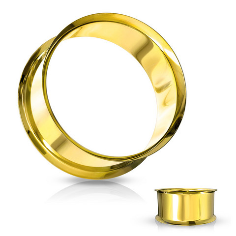 Tunneli 8mm, Double Flared Tunnel in Gold