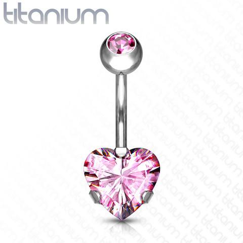 Napakoru, Implant Grade Titanium Prong Set Heart CZ in Pink