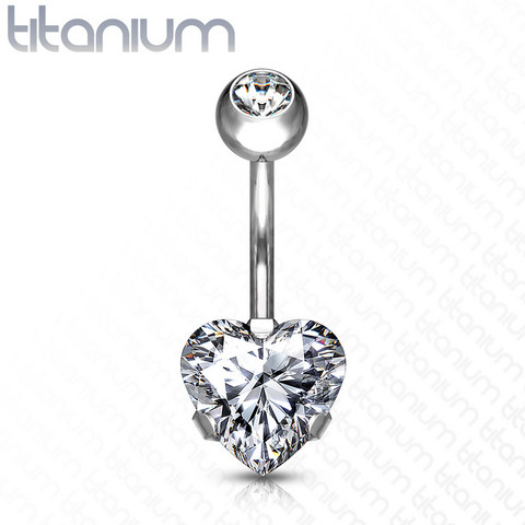 Napakoru, Implant Grade Titanium Prong Set Heart CZ in Clear