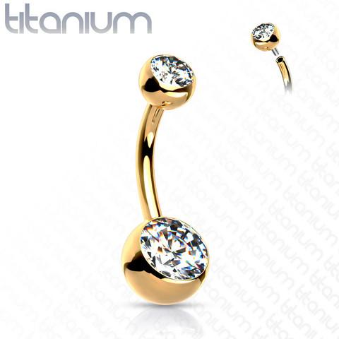 Napakoru, Implant Grade Titanium Crystal Belly Button in Gold