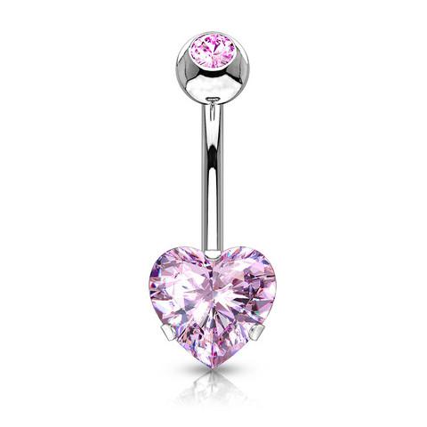 Napakoru, Heart CZ Prong Set Navel Ring in Pink