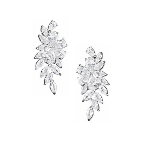 Kristallikorvakorut, ATHENA BRIDAL|Luxurious Flower Earrings