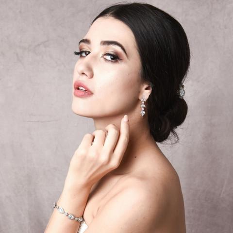 Kristallikorvakorut, ATHENA BRIDAL|Romantic Adelie Earrings (Rosegold)