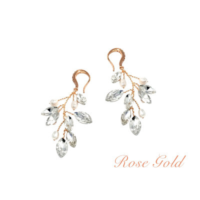 Kristallikorvakorut, ATHENA BRIDAL|Natural  Pearl Twine Earrings in RG