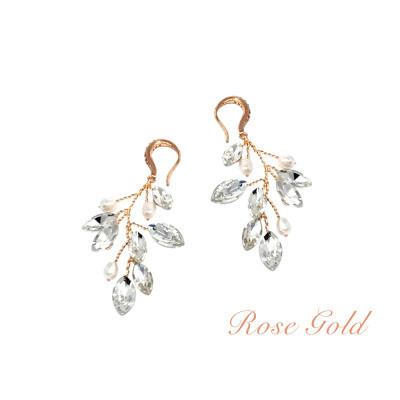 Kristallikorvakorut, ATHENA BRIDAL|Natural  Pearl Twine Earrings in RG