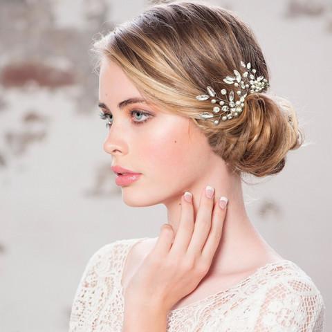 Hiuskoru, ATHENA BRIDAL|Silver Hairpin with Pearl Flower