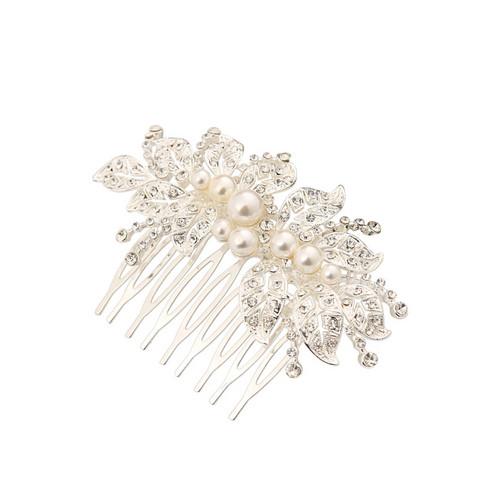 Hiuskoru, ATHENA BRIDAL|Pearl Leaf Hair Comb