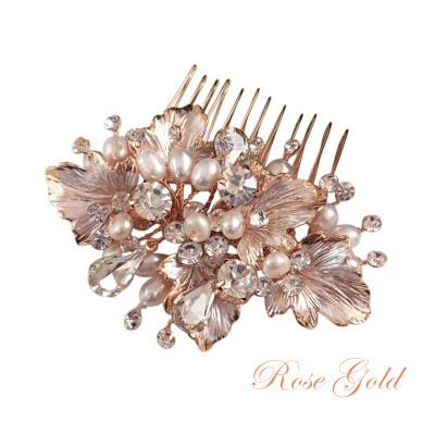 Hiuskoru, ATHENA BRIDAL|Beautiful Natural Pearl Haircomb in Rosegold
