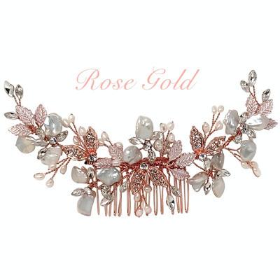 Hiuskoru, ATHENA BRIDAL|Elegant Natural Pearl Haircomb in Rosegold
