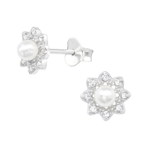 Hopeiset korvanapit, Flower Pearl Earstuds with Crystals -helminapit