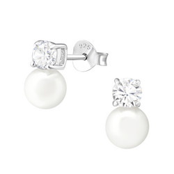 Hopeiset korvanapit, Elegant Pearl Earstuds with Crystals -helminapit