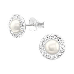 Hopeiset korvanapit, Round Pearl Earstuds with Crystals -helminapit