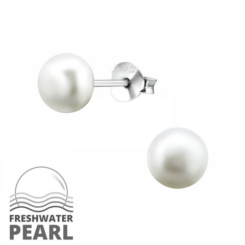 Hopeiset korvanapit, Small Natural Pearl -makeanveden helmi (koko XS)